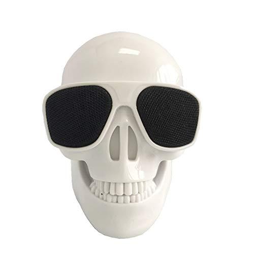 WAXCCBluetooth SpeakerPortable 2000mAh 5W Schädel Drahtlose Bluetooth 4.0-Lautsprecher Super Bass Brille Subwoofer Mehrzweck-Aero-Schädel-Lautsprecher, Weiss