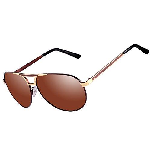 Kennifer Aviator Flieger Polarisierte Sonnenbrille Männer Herren Metallrahmen Mode Spiegel Objektiv Unisex Eyewear Fahren Angeln Radfahren Shopping Golf Sport Brillen, UV400 (C2)