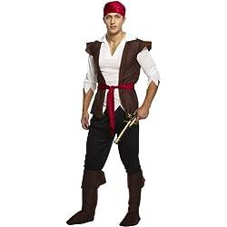 Traje de pirata unisex, negro y marrón.