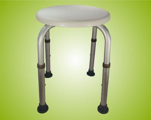 Duschhocker höhenverstellbar, Badehocker, Hocker, Duschstuhl, Duschsitz, Duschschemel, rund, Farbe:weiß Top-Qualität