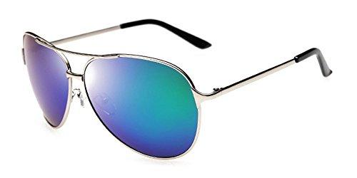Aoron Herren Klassische Piloten polarisierte Sonnenbrille mit Metallrahmen Farbe Objektiv Einheitsgröße Silber