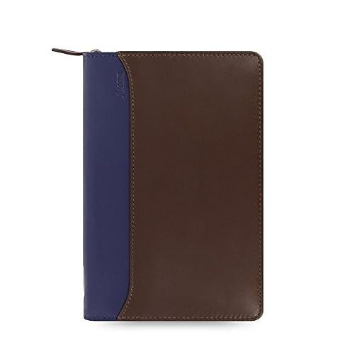 Filofax Personal Nappa Leather Zipped Organiser - Chocolate/Blue