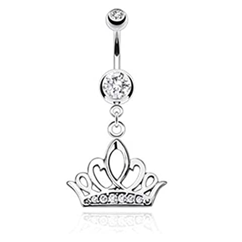 Paula & Fritz Stainless Steel Crown Tiara Pendant 316L Surgical Steel with Clear Crystal Navel Belly Button NSB1007_