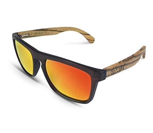 TWO-X Sonnenbrille Wood braun orange WF Look Holz Zebrano verspiegelt polarisiert