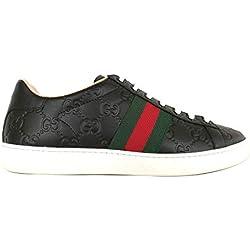 Gucci Scarpe Donna Sneaker Ace con Stampa GG in Pelle 387993 CWCG0 1070 Nero (37.5 EU)