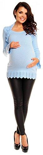 Zeta Ville Maternité - Tunic crochet en maille de grossesse bolero - femme 402c Bleu Clair