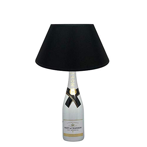 Dekoflasche Champagner Eis Ice - Moet & Chandon Ice - originelle Dekolampe Tischlampe mit Stoffschirm I individuelle Tischleuchte E27 modern - Stehlampe Flaschenlicht Dekoleuchte - Stoffschirm Glas