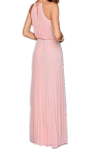 Monissy Femmes Robe Sans Manches Plissés Sexy Douce Robe Longue Elegante Rose