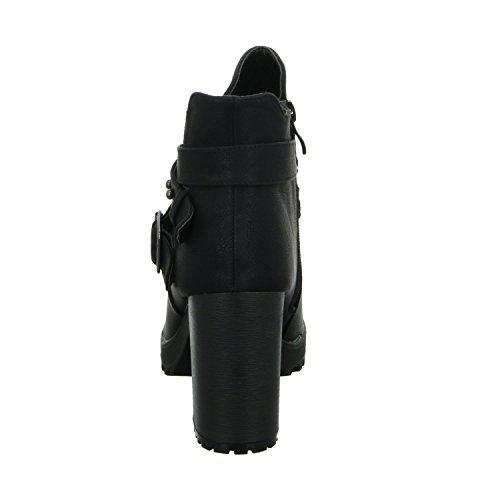 SDS 1215-GA Damen Schlupf/Reißverschlussstiefelette Kaltfutter eleganter Boden Schwarz (Schwarz)