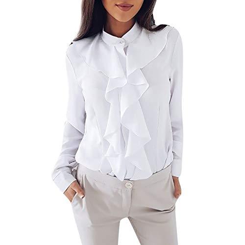 TUDUZ Damen Bluse Elegant Chiffon V-Ausschnitt Langarm Oberteil mit Rüschen Vorne Tunika Hemd T-Shirt(XL,Weiß) -