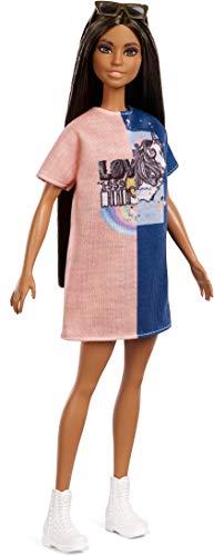 Barbie FXL43 - Fashionistas Puppe im Grafik Stil Kleid mit braunen Haaren und Sonnenbrille, Puppen Spielzeug ab 3 Jahren