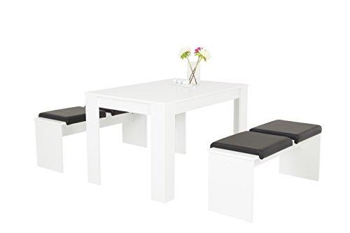 Essgruppe Doris II Set 7-teilig, Vierfußtisch mit 2 Bänken Weiß und Sitzkissen Bezug in Schwarz, B120 x T80 x H76 cm  Apollo