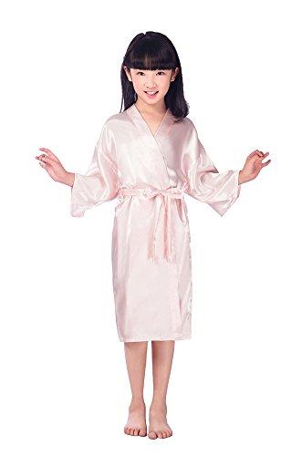 Joyplay Kinder Mädchen Kimono Aus Satin Seide Soft Robe Nachtwäsche Pyjamas Seidenrobe Nachthemden Nachtwäsche mit Peacock und Blume Kimono Schlafanzug Glanz Look kurz Rosa ()