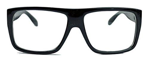 Old School Fashion Brille für Herren Nerd Geek Fashion Flat Top schwarz clear lens