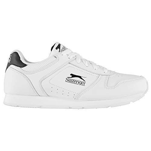 Slazenger Classic Herren Turnschuhe Leder Sneaker Sport Schuhe Schnuerschuhe Weiß/Schwarz 44 EU