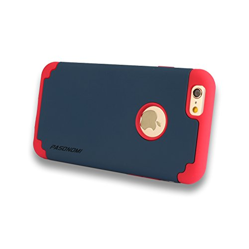Étui Coque pour iPhone 6s Plus, Pasonomi® [Slim Fit] [Dual Layer] Housse de Protection Matériaux Hybrides en TPU souple et PC dur Coque pour iPhone 6s Plus (2015) / iPhone 6 Plus (2014) (iPhone 6s Plu Bleu Foncé