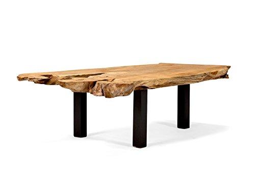 massivum Couchtisch Tenaga 140x40x60 cm Teak-Holz massiv natur mit Metall-Gestell schwarz lackiert