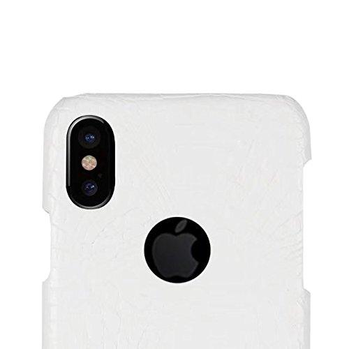 iPhone 8 Coque, Valenth Crocodile Partern Anti-Scratch Protecteur Antidérapant Grip Hybride Hard Back Coque Coque pour iPhone 8 White