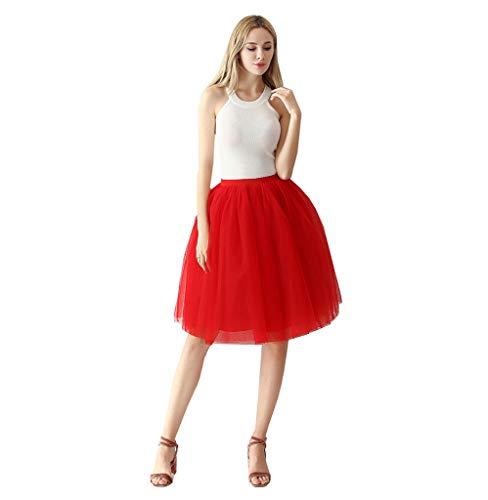 (Tutu Rock Fluffy Damen 1950er Jahre Vintage Tutu Petticoat Erwachsene Plissee Dance Rot Tutu Rock)