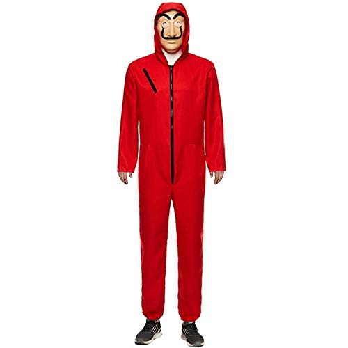 UnisexLa Casa De Pape Maske Cosplay Bekleidung Pullover Kostüme Body Suit Rot Anzug Halloween Overall Jumpsuit (Overall+Maske, Large) - Roter Overall