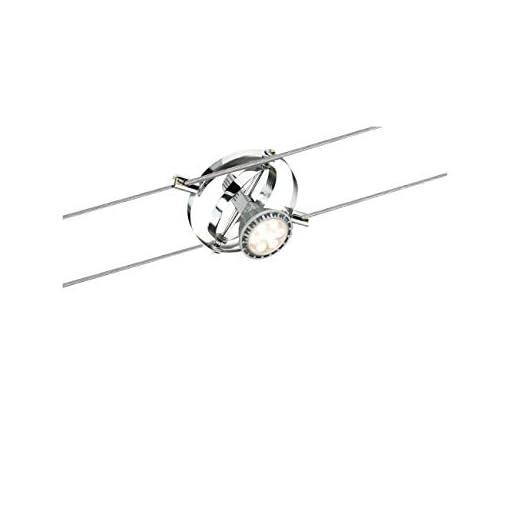 Paulmann 94137 Sistema cavo Spot Cardan max. 1x10W GU5,3 opaco/cromo 12V metallo GU5.3, 11 cm x 11 cm x 10 cm