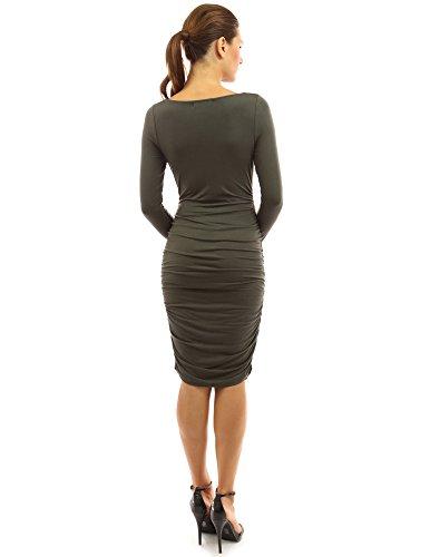 PattyBoutik Mama Damen Stretchumstandskleid mit Wasserfall-Ausschnitt und Rüschen dunkelolivgrün