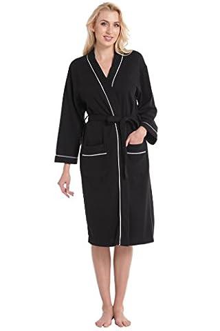 Aibrou Unisexe Kimono Tissage Gaufré Femme Peignoir de Bain femme homme 100% Coton Waffle Robe de Chambre col V Pyjama Pour l'hôtel Spa Sauna Vêtements de nuit(Noir XL)