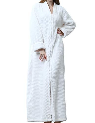 Jenkoon Damen Bademantel mit Reißverschluss vorne, Fleece, Flanell, lang, warm, mit Taschen - Weiß - Large - Reißverschluss Damen Vorne Fleece-bademäntel