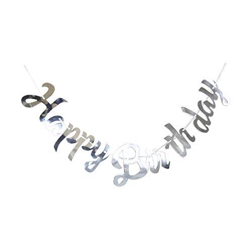 Regendeko Happy Birthday Glitter Girlande Dekoration Geburtstagsdeko Partydekorationen (Silver Neu)