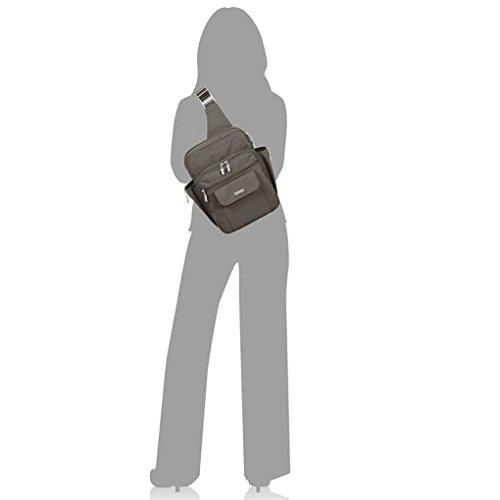 Baggallini  MES160, Sac pour femme à porter à l'épaule taille unique, pacifique (bleu) - MES160 - Gris anthracite