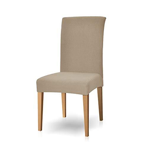 Subrtex spandex coprisedie con schienale copertura della sedia da pranzo, copertura protettiva modern elastico rimovibile lavabile anti scivolo (2 pezzi, sabbia)