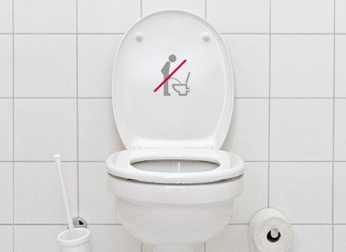 Grandora WC Aufkleber Piktogramm im sitzen pinkeln W733