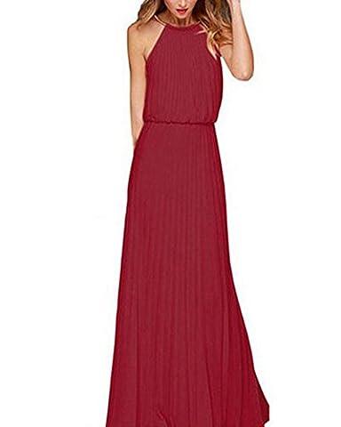 Damen Elegant Abendkleid Ärmellos Neckholder Elastisch Strap Brautjungfer Chiffon Faltenrock Lange Maxi Kleid Festkleider Partykleid Burgunderrot S