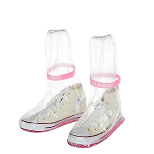 SoonerQuicker Wasserdichte Erwachsene Flattie-Regenüberschuhe mit dauerhaftem PVC-Material für die Reise (rosa, m)