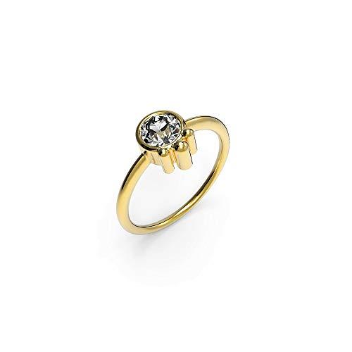 prettique Damen Ring aus 925 Sterlingsilber/Vergoldet (18 Karat) mit rundem Zirkonia Stein (farblos) - Goldring- Größe 52-54-56-58-60 - Durchmesser 0,5 Zentimeter - Geschenk