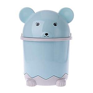 CADANIA Mini Abfalleimer Desktop Müllkorb Tisch Home Mülleimer Schwenkdeckel Bär Form 1.5L – Blau