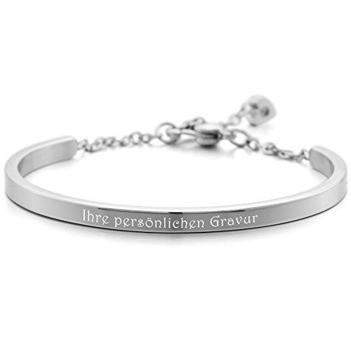 MeMeDIY Silber Edelstahl Armband Manschette Herz Polished - Kundenspezifische Gravur