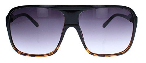 Old School Sonnenbrille Herren Nerd Brille 80er Jahre Flat Top oversized MODELLWAHL F79 (M1: Schwarz Braun Farbverlauf)