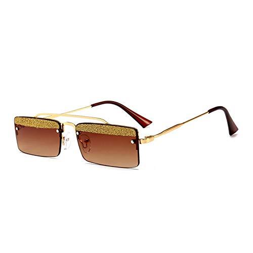 MJDABAOFA Sonnenbrillen,Kleines Quadrat Retro Sonnenbrillen Für Frauen Gold Frame Braune Linse Two-Tone Shining Gradient Objektiv Sonnenbrillen Für Männer