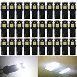 JAVR Lot de 30 ampoules LED de rechange pour intérieur de voiture Blanc 194 168 2825 W5W 5e génération T10 5050 5SMD Super Bright Source d'éclairage pour plaque d'immatriculation 12 V