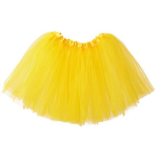 Ksnrang Mädchen Tütü Rock Minirock 3 Lagen Petticoat Tanzkleid Dehnbaren Mini Skater Tutu Rock Erwachsene Ballettrock Tüllrock für Party Halloween Kostüme Tanzen (Gelb, 2-8 Jahre)