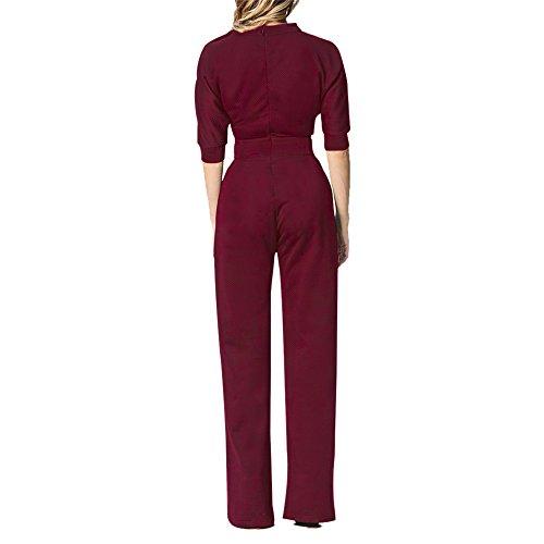 Lrud Damen One Schulter Wide Leg Overalls Strampelhöschen Lange Hosen Jumpsuits Bodysuit Burgundy