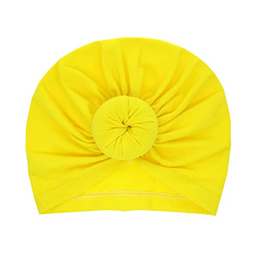 Kinder Ball Infinity Hut neugeborenen Kreis-Tasche Kopftuch Baby reine Farbe Fleischball-Kopfhut hat,yellow,F
