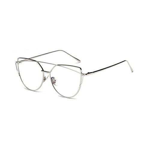 Fashion Sonnenbrille FORH Unisex Damen Herren Klassische Metallrahmen Sonnenbrille Vintage Katzenauge Spiegel Sommer StrandBrille Gleitsicht Sonnenbrille Eye Glasses (Silber B)