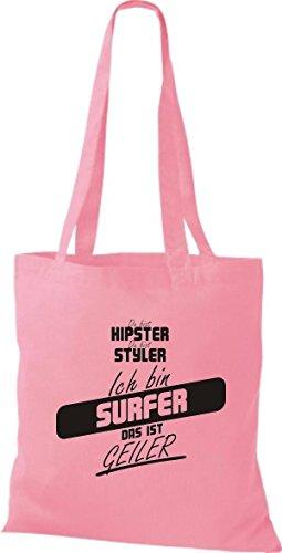 Shirtstown Stoffbeutel du bist hipster du bist styler ich bin Surfer das ist geiler rosa