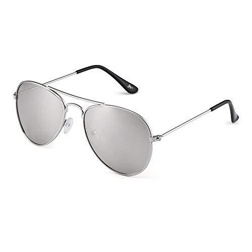 Kinder Spiegel Flieger Sonnenbrille Blitz Getönt Kind Brille Gläser Mädchen Jungen Alter 3-12(Silber/Spiegel Silber) - Pilot Navigator