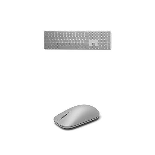 Microsoft Modern Keyboard (mit Fingerprint-ID) silber + Modern Mouse (außergewöhnliche Genauigkeit und Präzision) silber (Biometrische Tastatur)