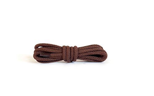Kaps Runde Schnürsenkel, hochwertige strapazierfähige 100% Baumwolle Schnürsenkel, hergestellt in Europa, 1 Paar, viele Farben und Längen (90 cm - 5 bis 6 Ösenpaare/76 - braun)