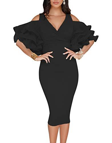 WOZNLOYE Sommer Damen Sexy V-Neck Rüschenärmel Kleid mit Schlitz Tunikakleid Fashion Midi Kleider...