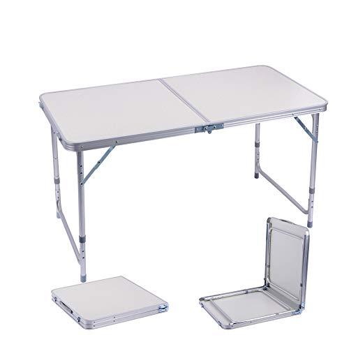 Sunflo tavolo pieghevole campeggio 120cm lega di alluminio regolabile altezza tavolo da picnic barbecue pranzo giardino portatile rettangolo manico indoor outdoor